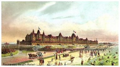 1880 Lithograph Of Colossal Rockaway Beach Hotel C